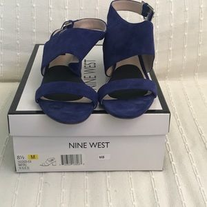 Nine West Peacock Blue Suede Shoes. Worn Once.